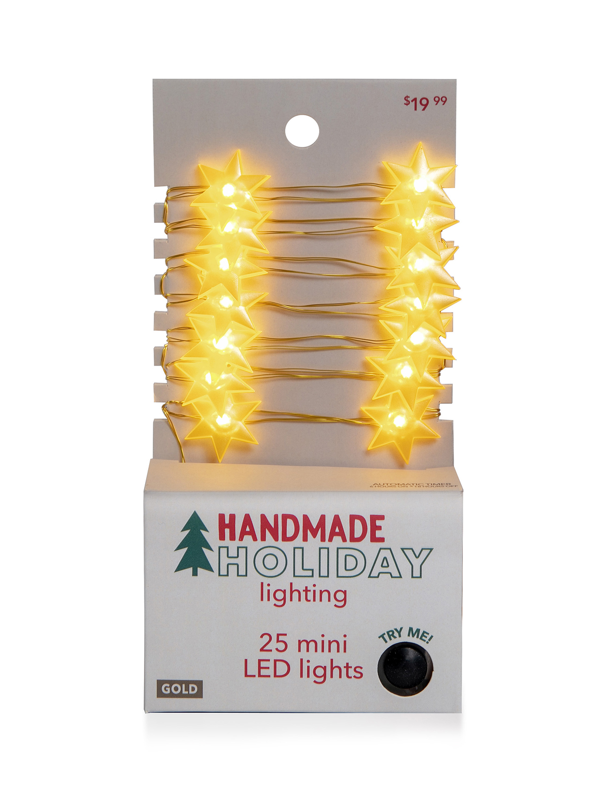 Handmade Holiday Lighting Christmas Hexagonal Star LED Gold Light Strand