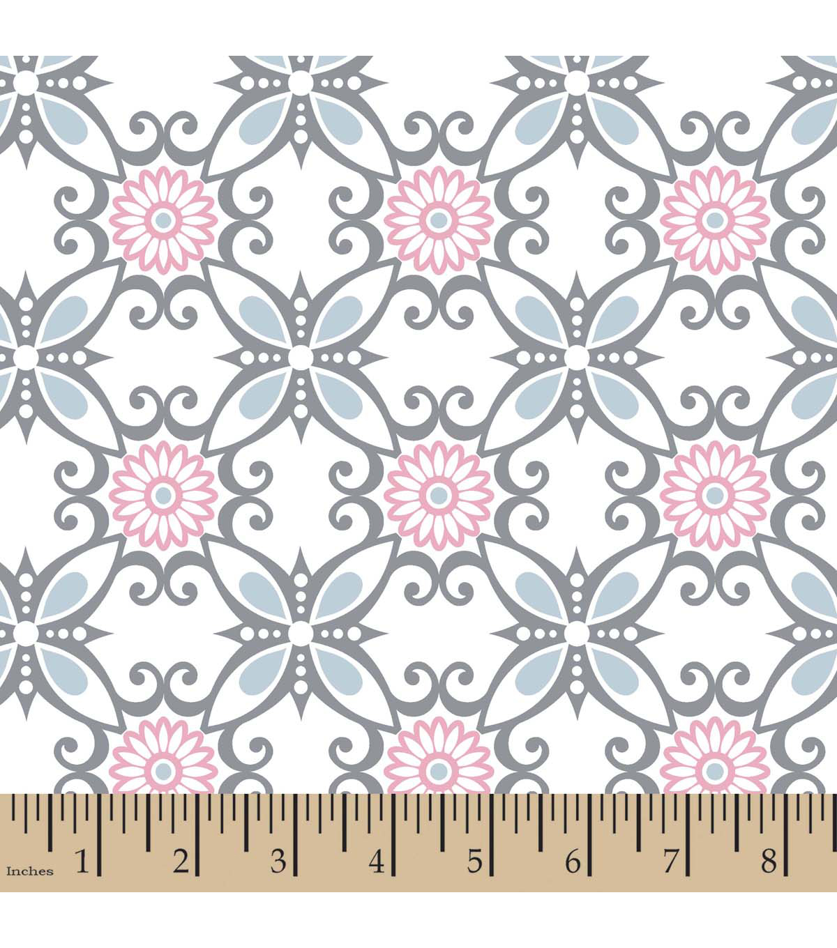 Snuggle Flannel Fabric -Floral Swirl Blue
