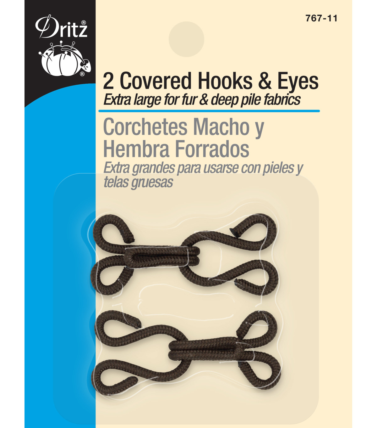 Dritz Covered Hooks & Eyes 2pcs Brown