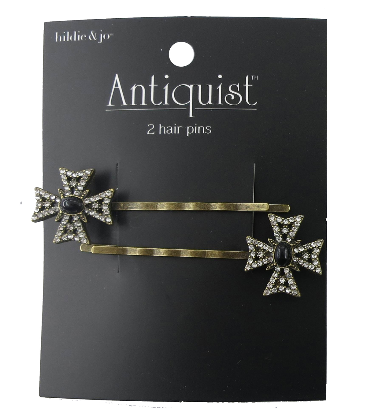 hildie & jo Cross Antique Gold Hair Pins-Crystals & Black Stone
