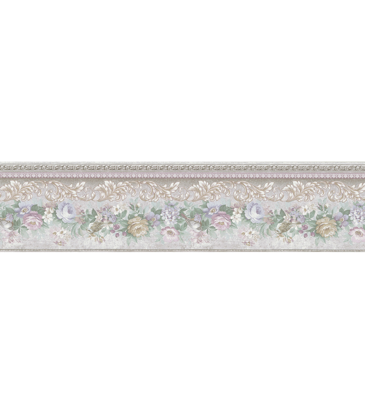 Birded Floral Scroll  Wallpaper Border, Multicolor Sample