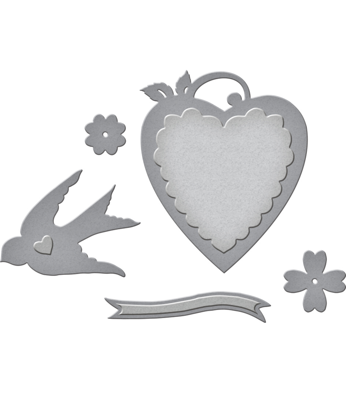 Spellbinders Shapeabilities Etched Die-Swallow & Heart