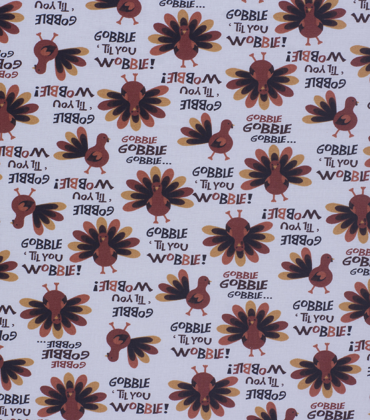Harvest Cotton Fabric-Gobble Til You Wobble