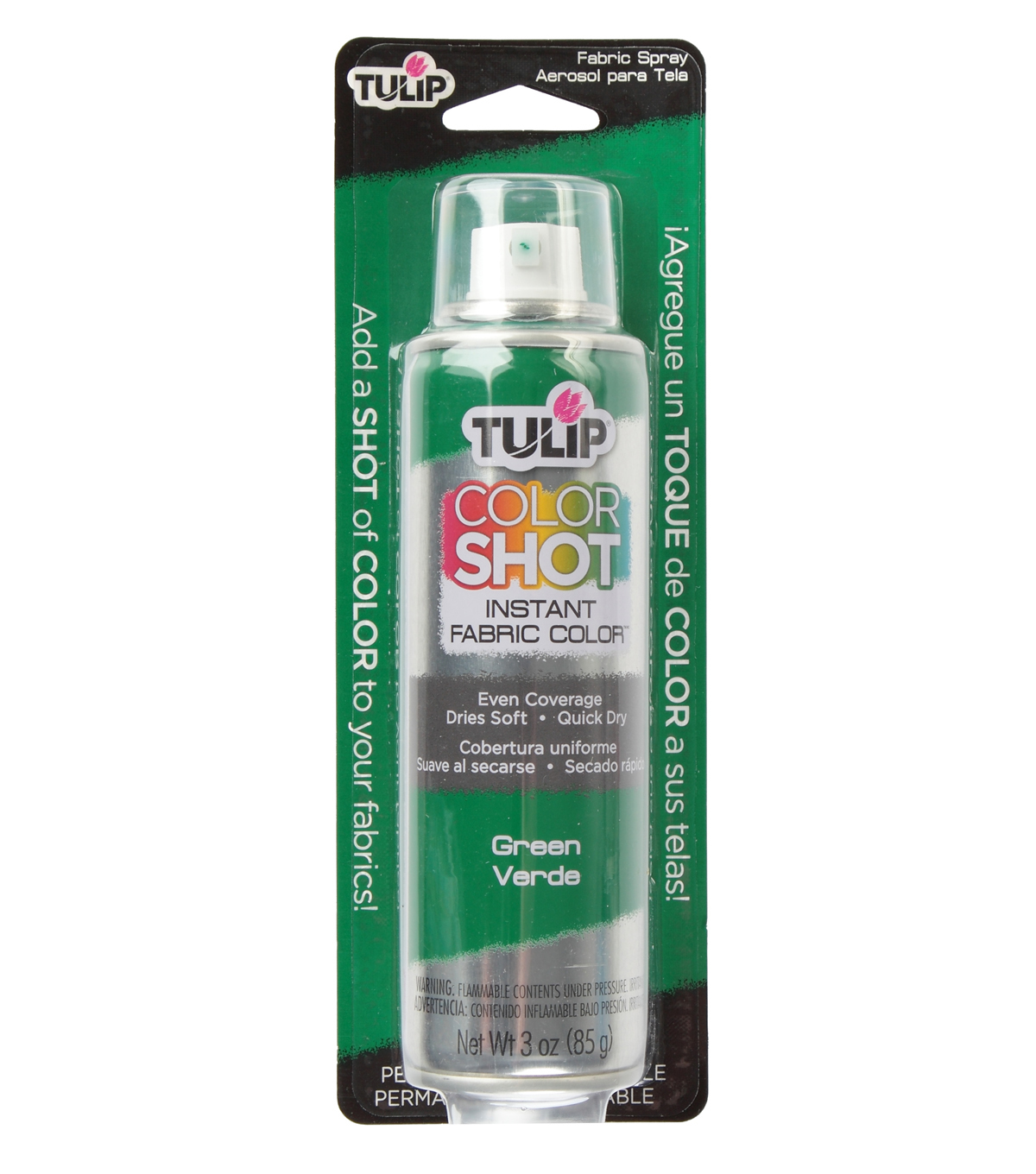 Tulip ColorShot Instant Fabric Color Spray 3oz, Green