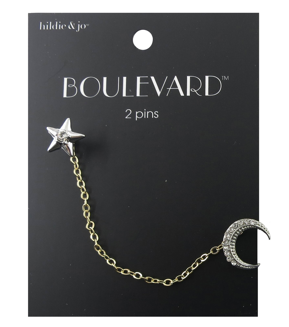 hildie & jo Boulevard Dual Pin Star & Moon with Chain Connector