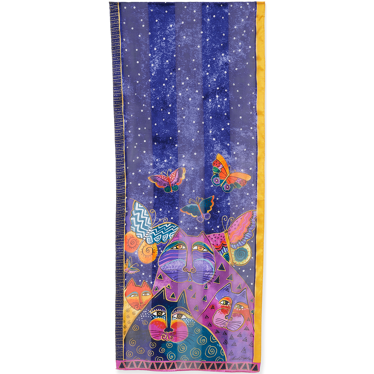 Laurel Burch Cats With Butterflies Scarf
