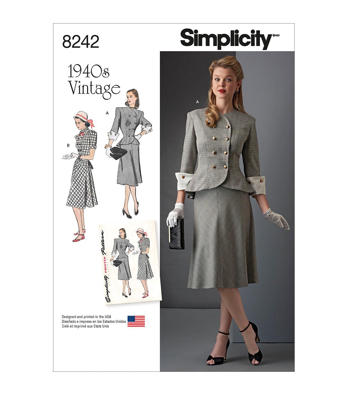 Simplicity Pattern 8242 Misses\' & Plus Size Vintage 1940s Dress