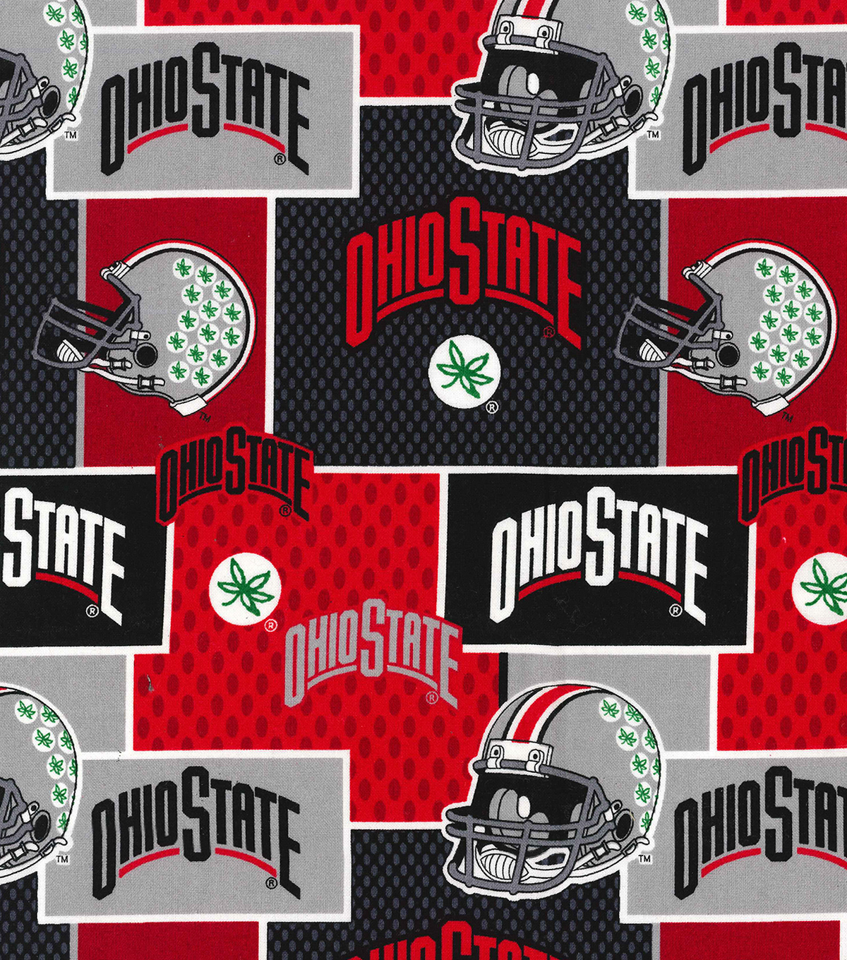 Ohio State University Buckeyes Cotton Fabric -Helmets on Block