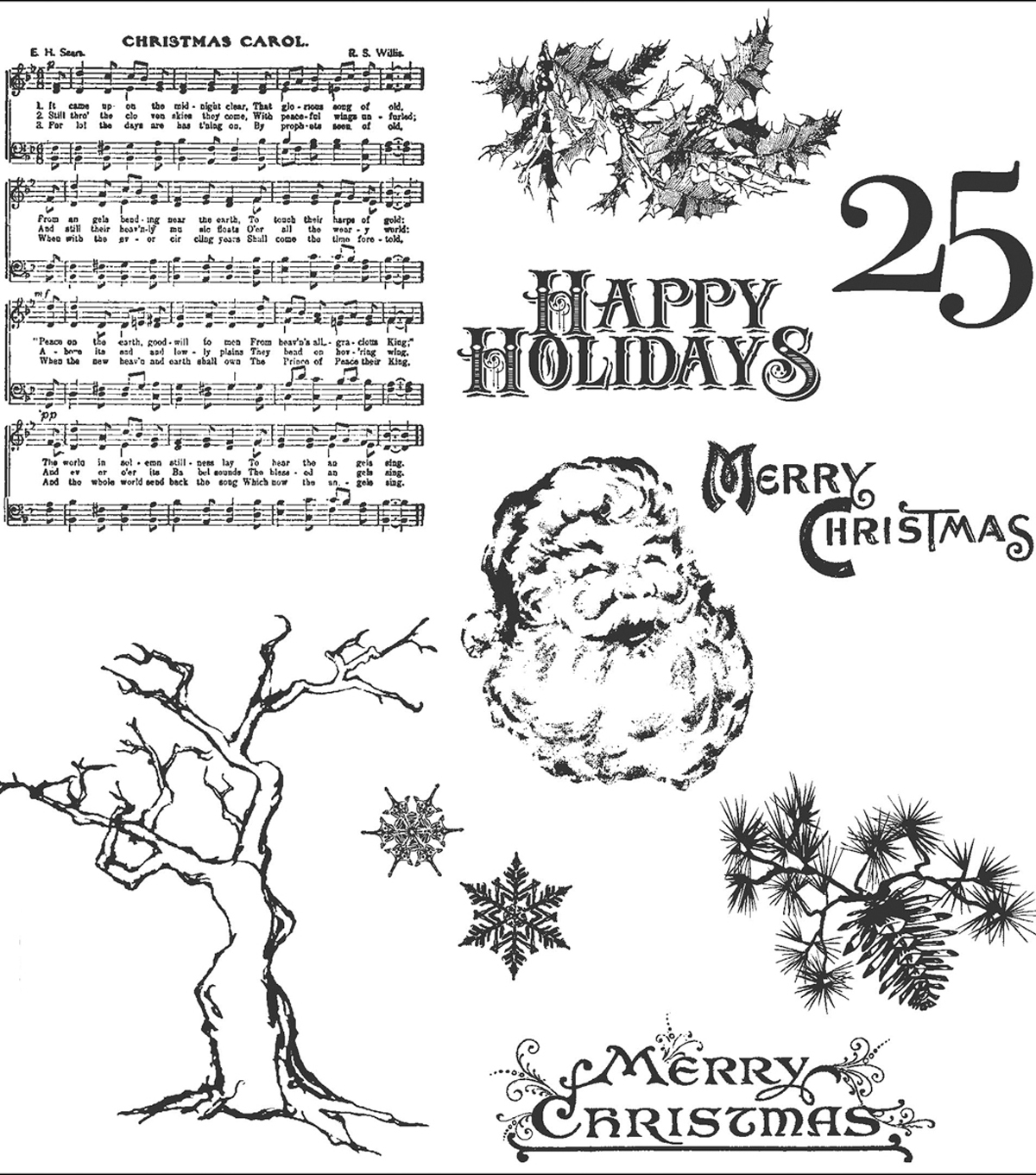 Tim Holtz Cling Rubber Stamp Set-Mini Holidays 3