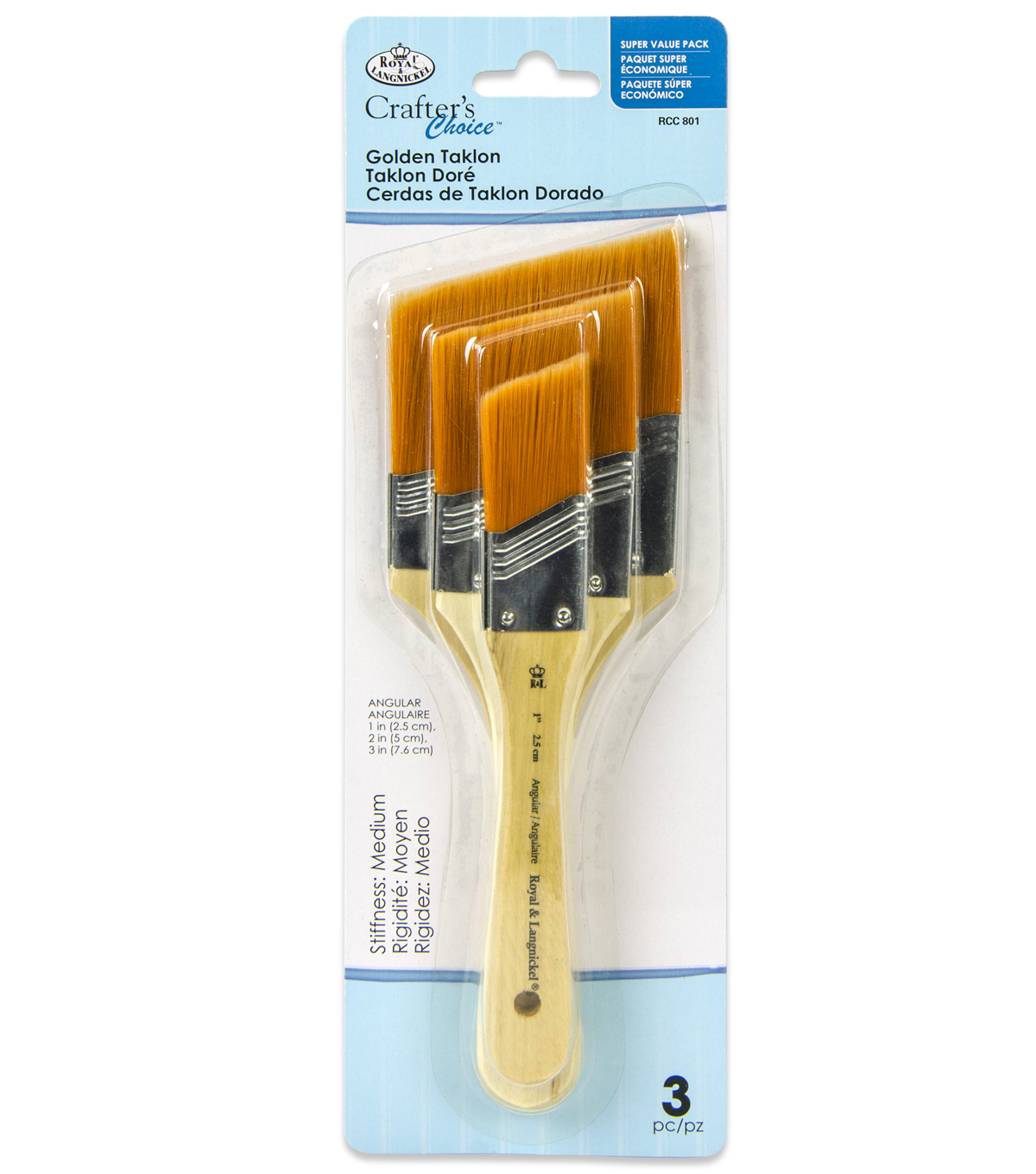 Royal & Langnickel Large Angular Brush Set 3pk-Golden Taklon