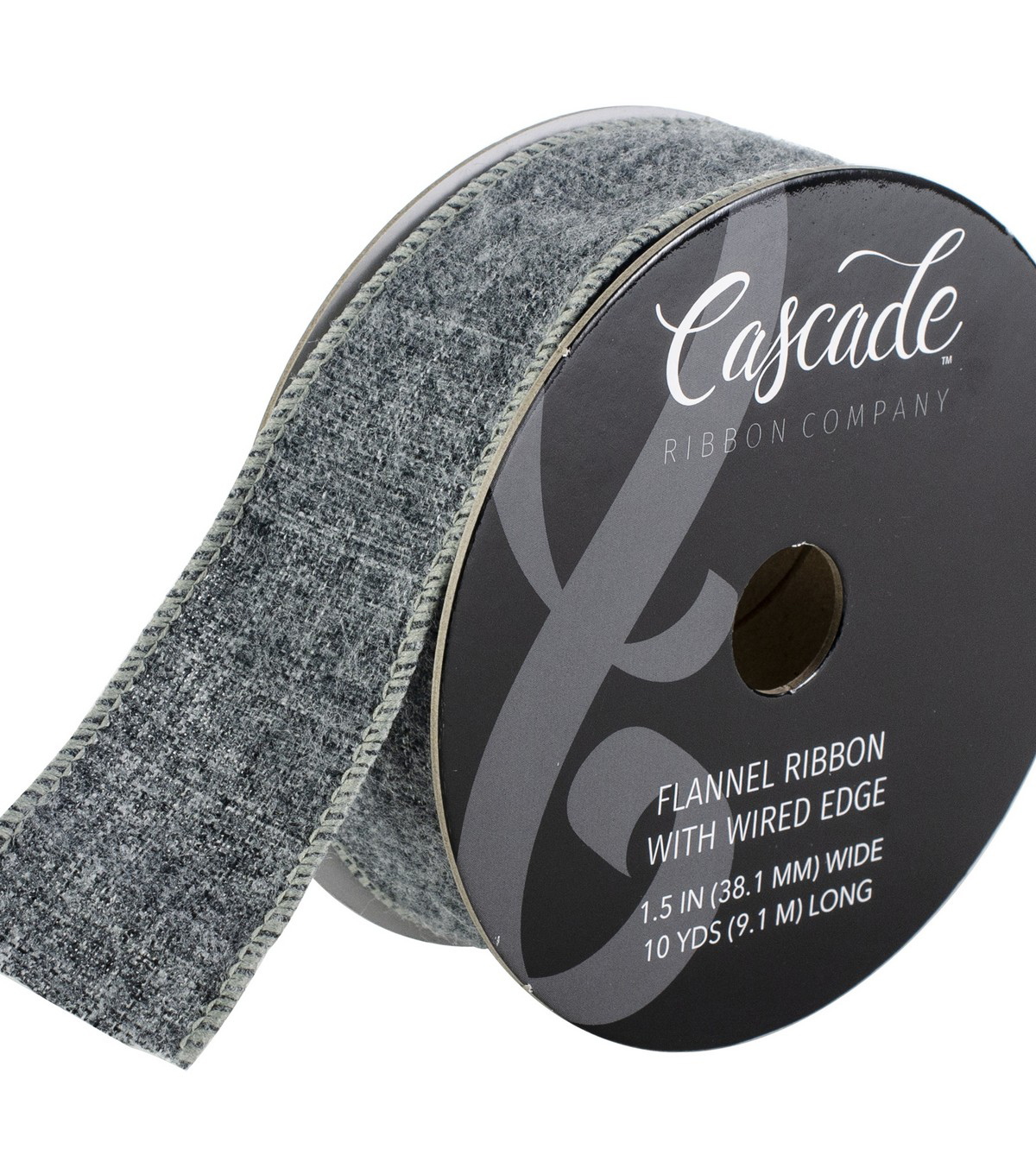 Cascade Flannel Ribbon with Wired Edge 1.5\u0022x10 yds-Heather Gray