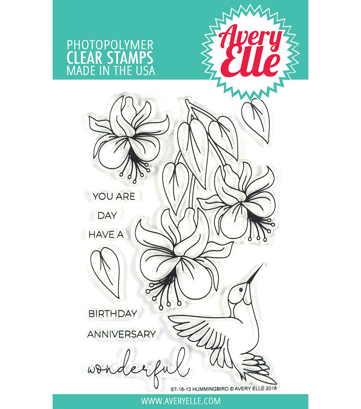 Avery Elle 11 pk Photopolymer Clear Stamps-Hummingbird