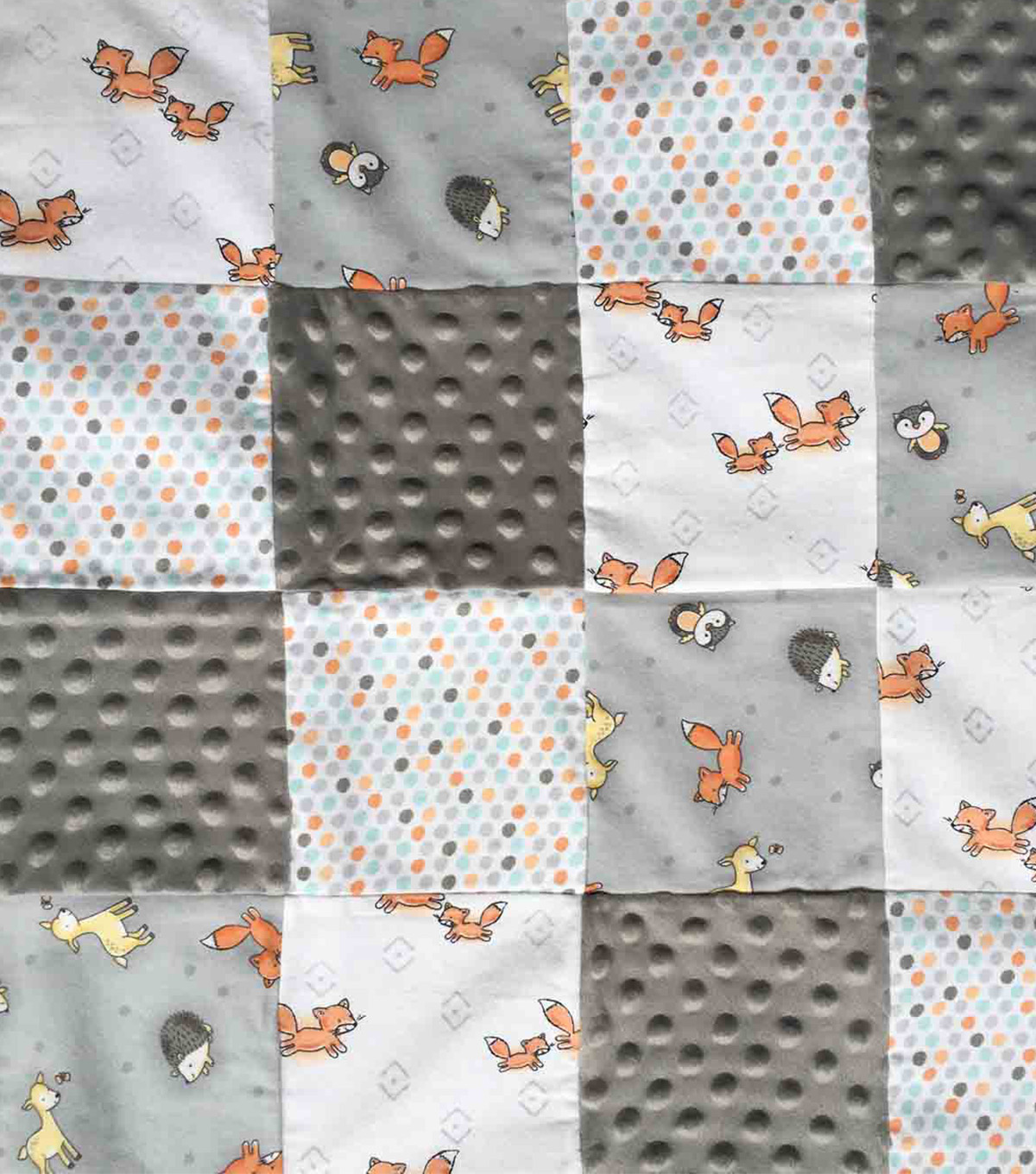 Nursery Patchwork Quilted Fabric-Woodland Neutral