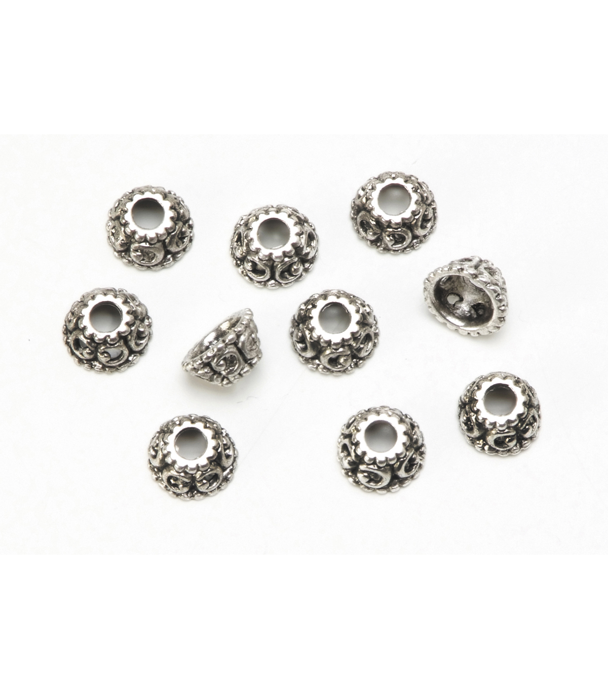 Cast Metal Spacer Beads, Swirl Endcaps, Antique Silver