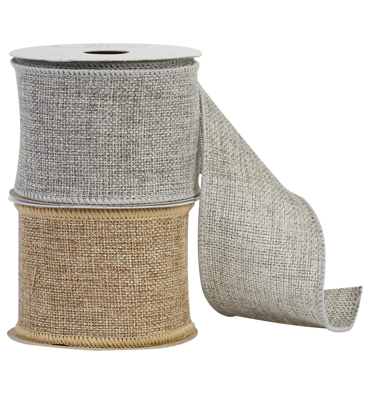 Offray 2.25\u0022x9\u0027 Sparkle Saddle Natural Burlap Wired Edge Ribbon