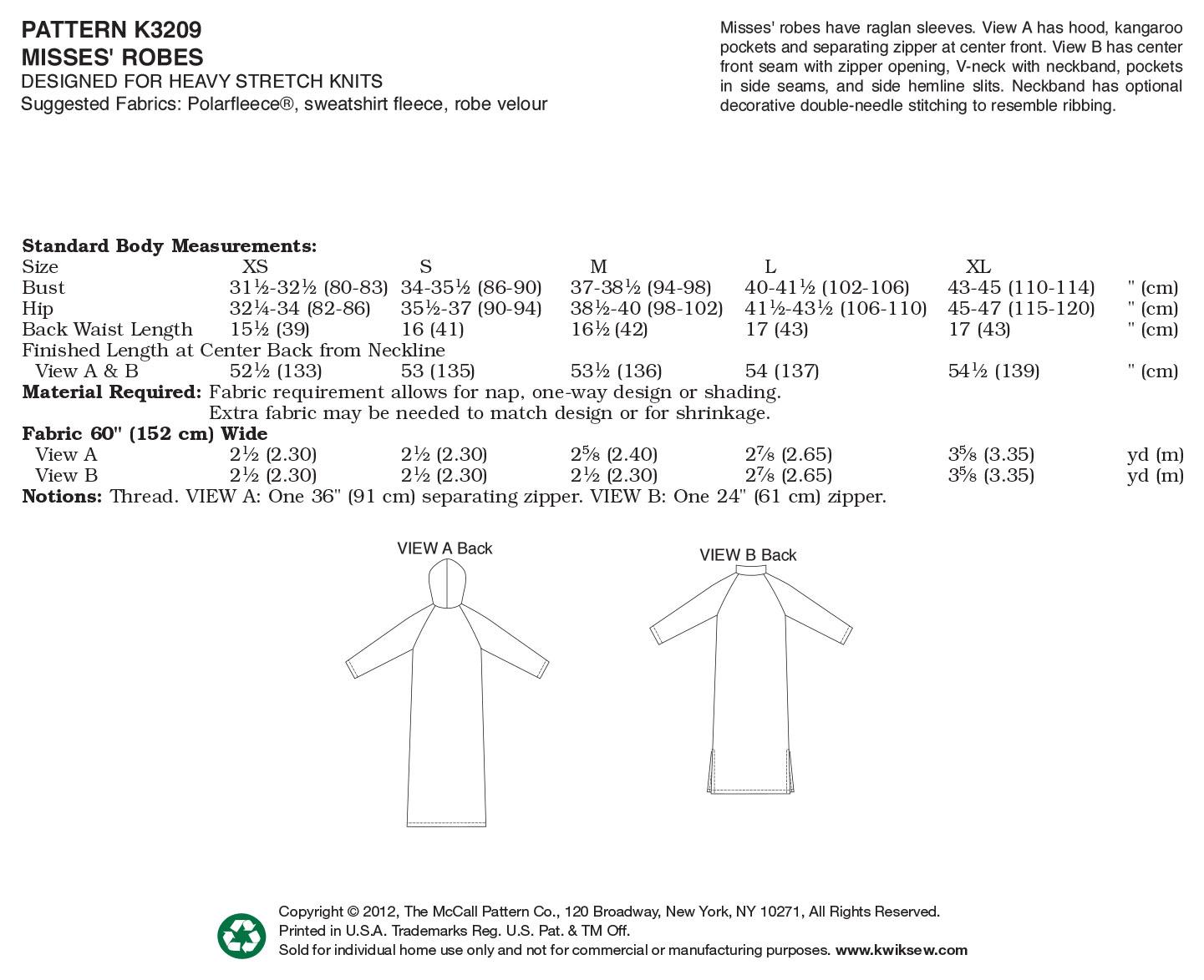 Robes-XS-S-M-L-XL Pattern   JOANN