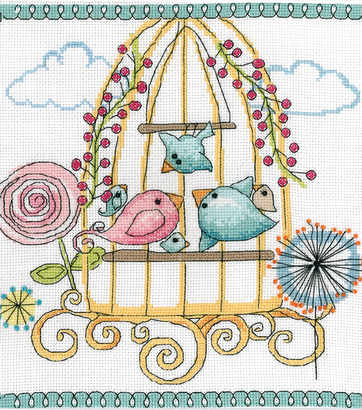 Design Works Crafts 10\u0027\u0027x10\u0027\u0027 Counted Cross Stitch Kit-Bird Cage