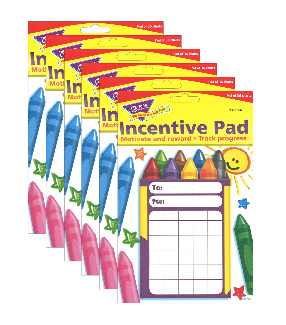 Colorful Crayons Incentive Pad, 36 Per Pack, 6 Packs