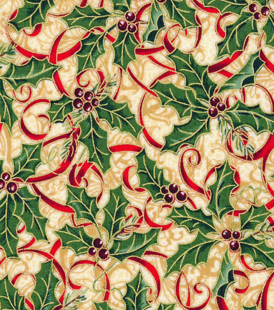 Maker\u0027s Holiday Cotton Fabric 44\u0022-Holly and Ribbon