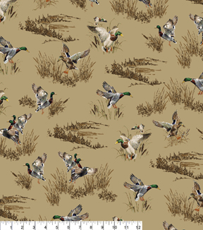 Novelty Cotton Fabric 43\u0022-Mallard Ducks On Tan
