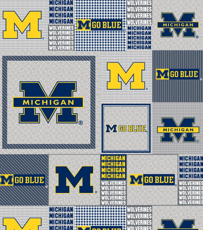 University Of Michigan Wolverines Fleece Fabric Gray Box