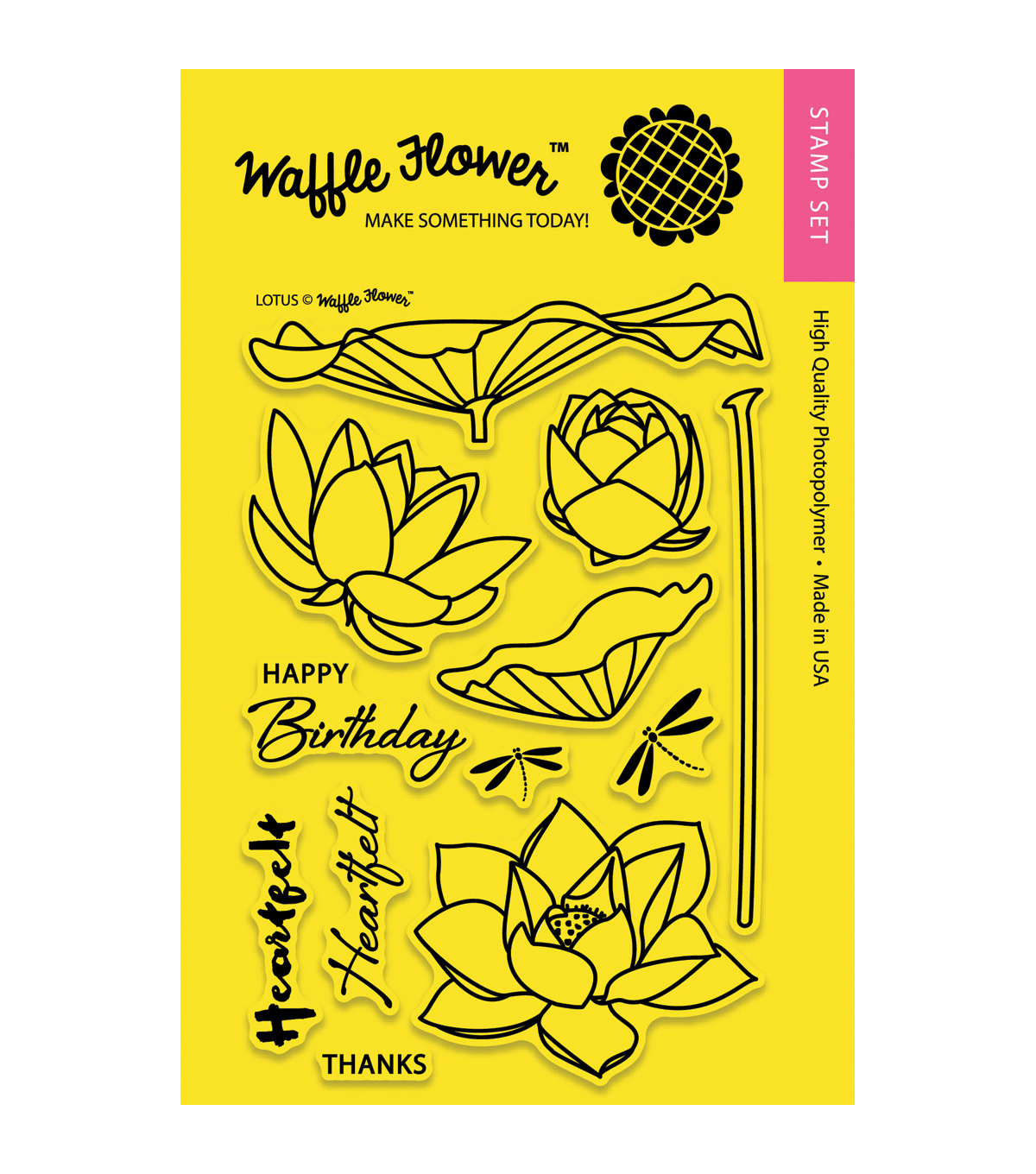 Waffle Flower Crafts Clear Stamps-Lotus