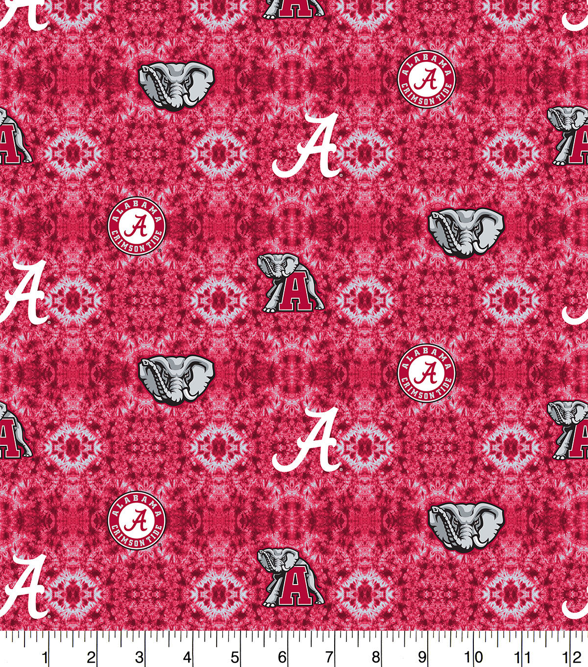 University of Alabama Crimson Tide Flannel Fabric-Tie Dye