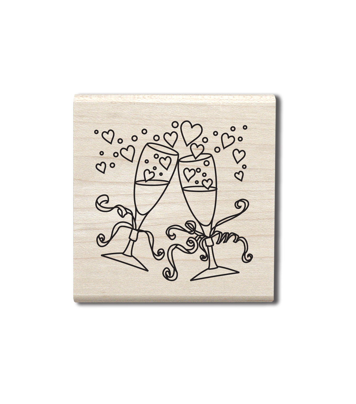 Hampton Art Outlines Wood Stamp-Champagne Glasses