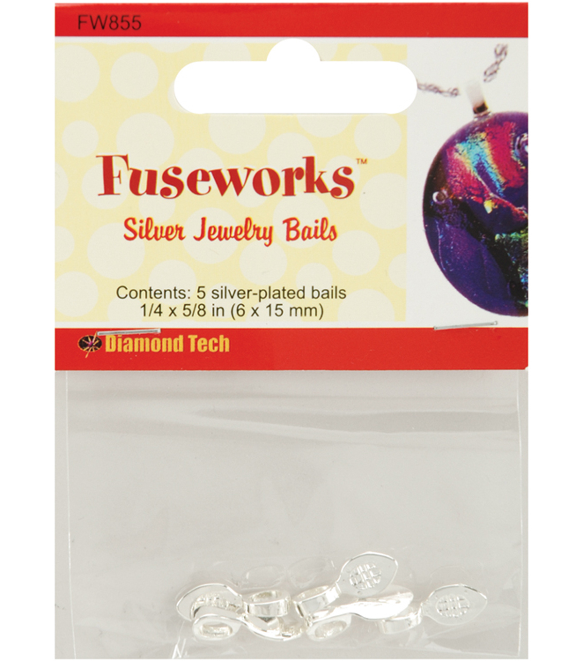Fuseworks Jewelry Findings-Small Silver Bail 5/Pkg