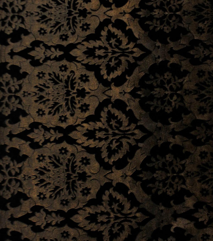 Metallic Lacquer Embossed Brocade Fabric-Black   JOANN