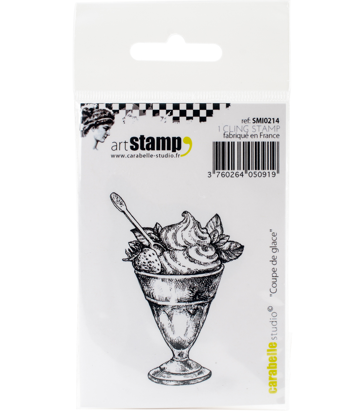 Carabelle Studio Cling Stamp Small 2.56\u0022X1.18\u0022-Mini Ice Cream Sundae