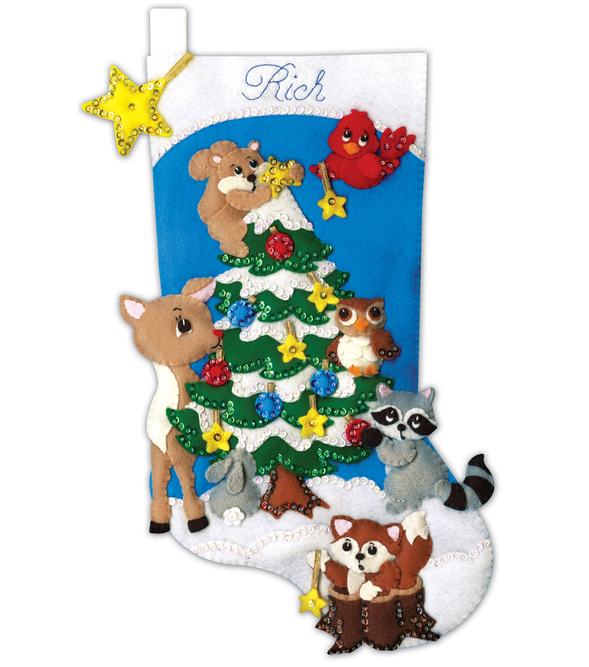 Design Works Crafts 18\u0027\u0027 Stocking Applique Felt Kit-Woodland Friends