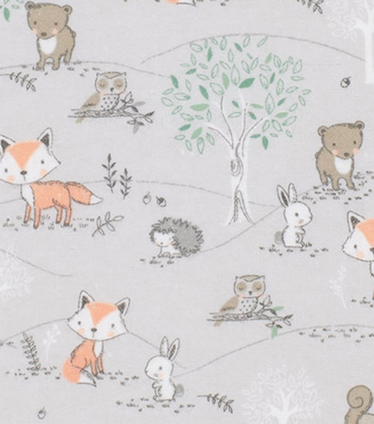 Super Snuggle Flannel Fabric-Baby Forest Animal Friends