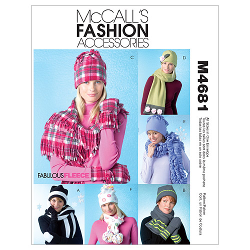 McCall\u0027s Patterns M4681 Hats, Scarves & Mittens-Size S-M-L