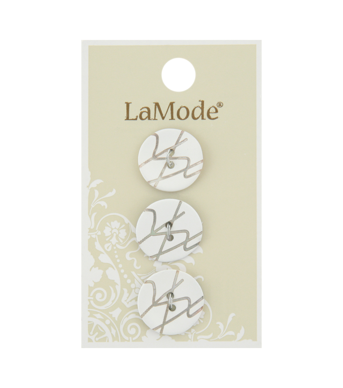 La Mode 3 pk 18 mm Agoya Shell 2 Hole Buttons-Zig Zag Design on White