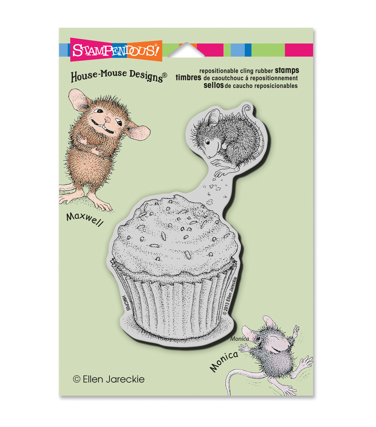 Stampendous House Mouse Cling Rubber Stamp Cupcake Jump