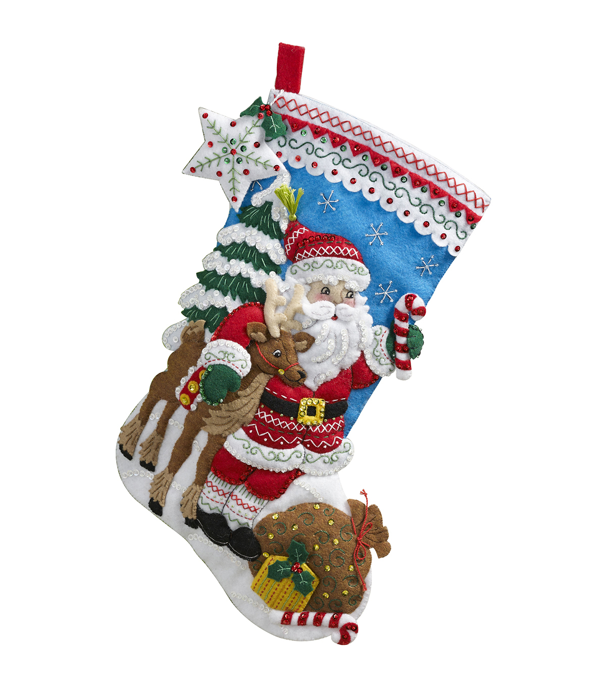Bucilla 18\u0022 Stocking Felt Applique Kit-Nordic Santa