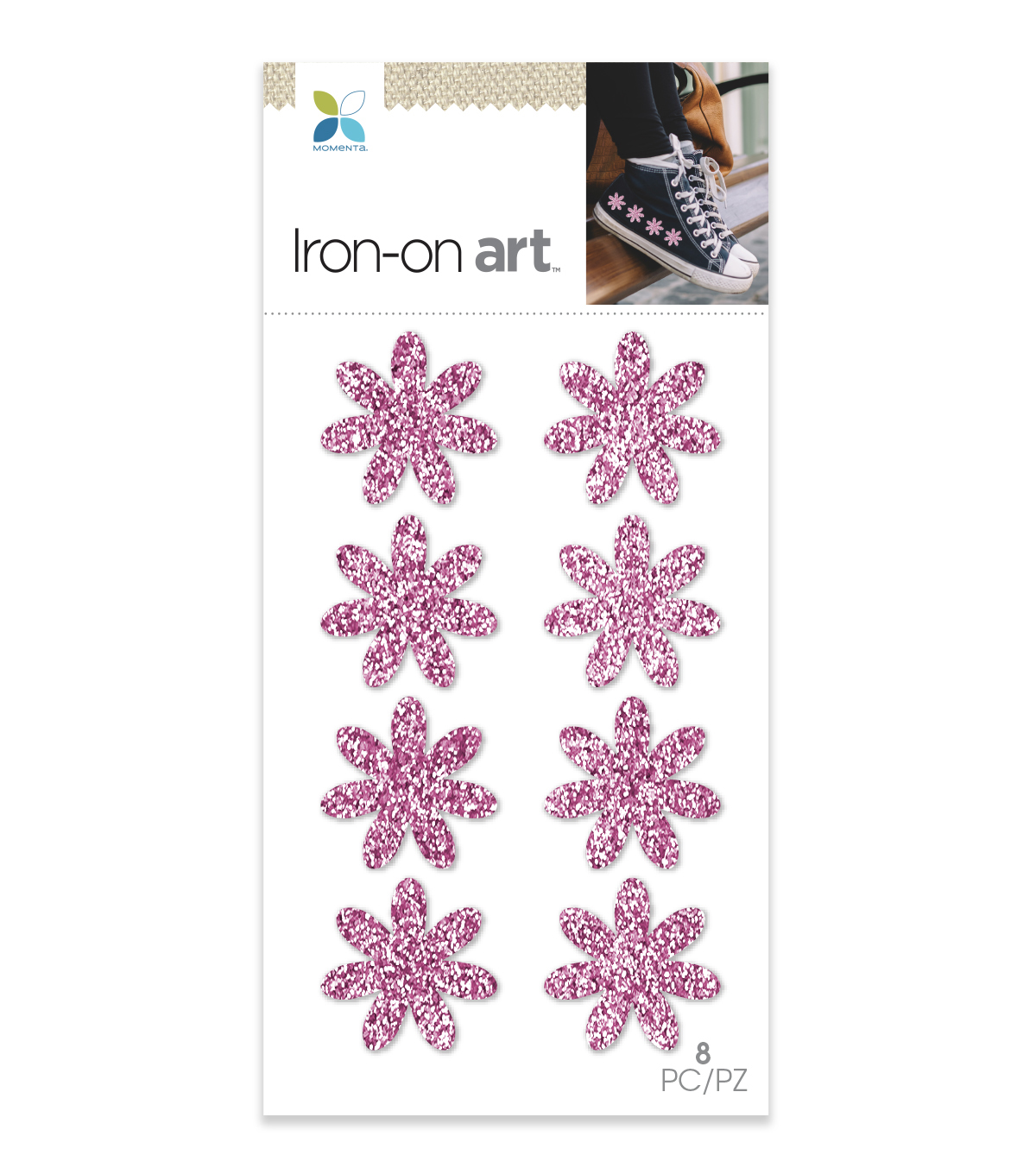 Momenta 8 pk Mini Flowers Chunky Glitter Iron-on Art-Pink