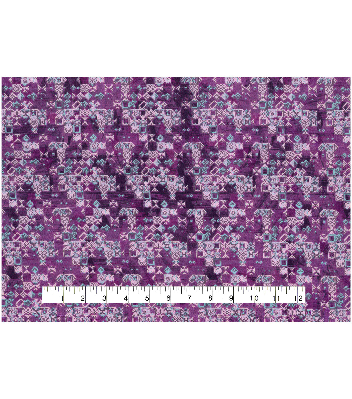 Modern Cotton Fabric -Mini Packed Shapes on Purple