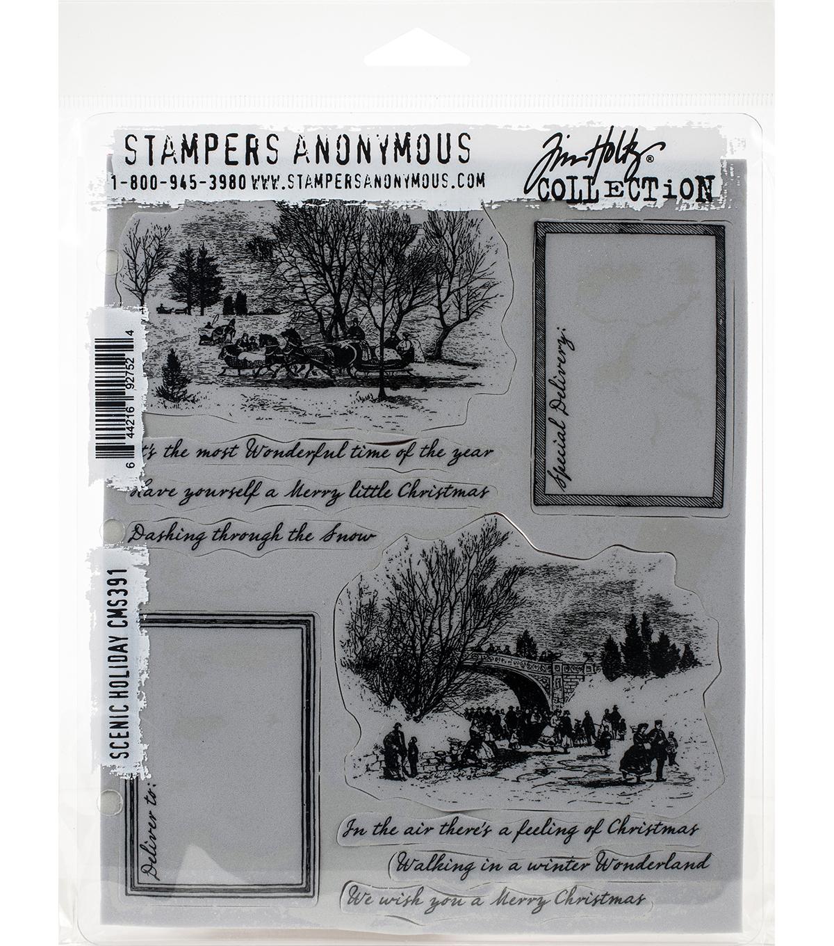 Tim Holtz Cling Stamps 7''X8.5'' Scenic Holiday