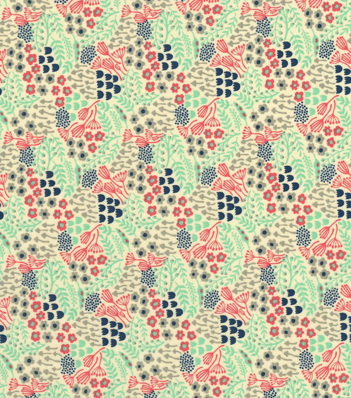 Quilter\u0027s Showcase Cotton Fabric -Coral, Mint & Gray Packed Floral