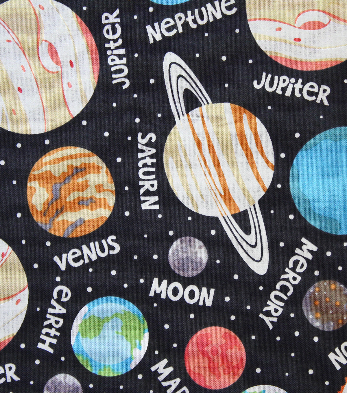 Novelty Cotton Fabric 44\u0022-Glow In The Dark Planets