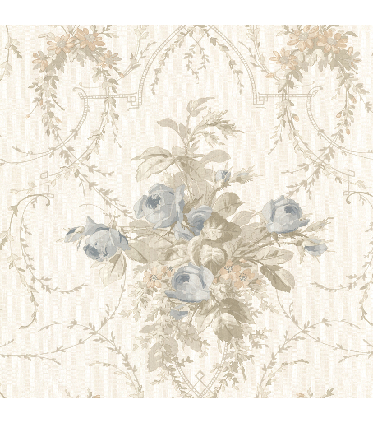 Verdant Taupe Floral Bouquet Wallpaper