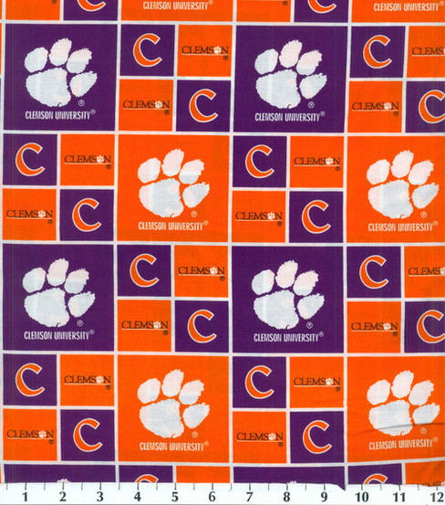 Clemson University Tigers Cotton Fabric -Block