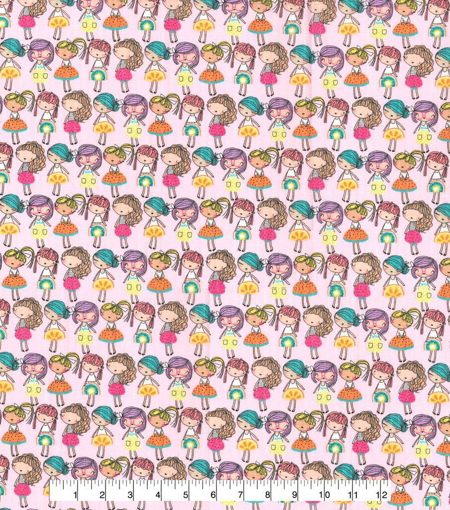 Tutti Fruitti Slice of Life Embellished Fabric -Fruit Girls