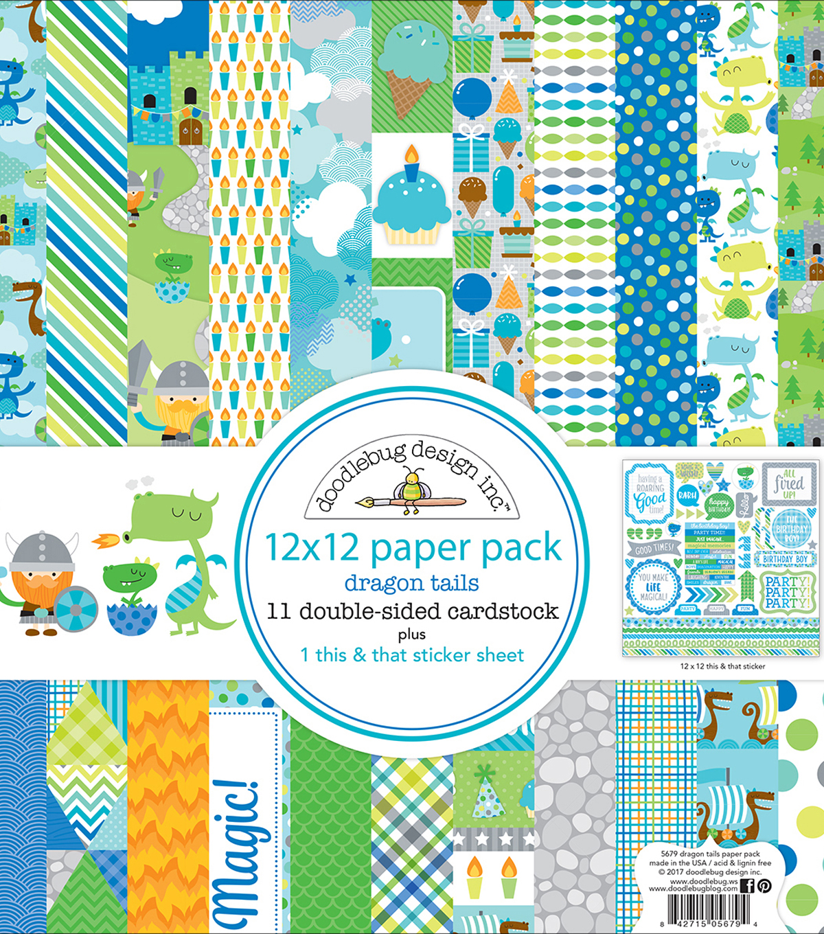 Doodlebug Double-Sided Paper Pack 12\u0022X12\u0022-Dragon Tails