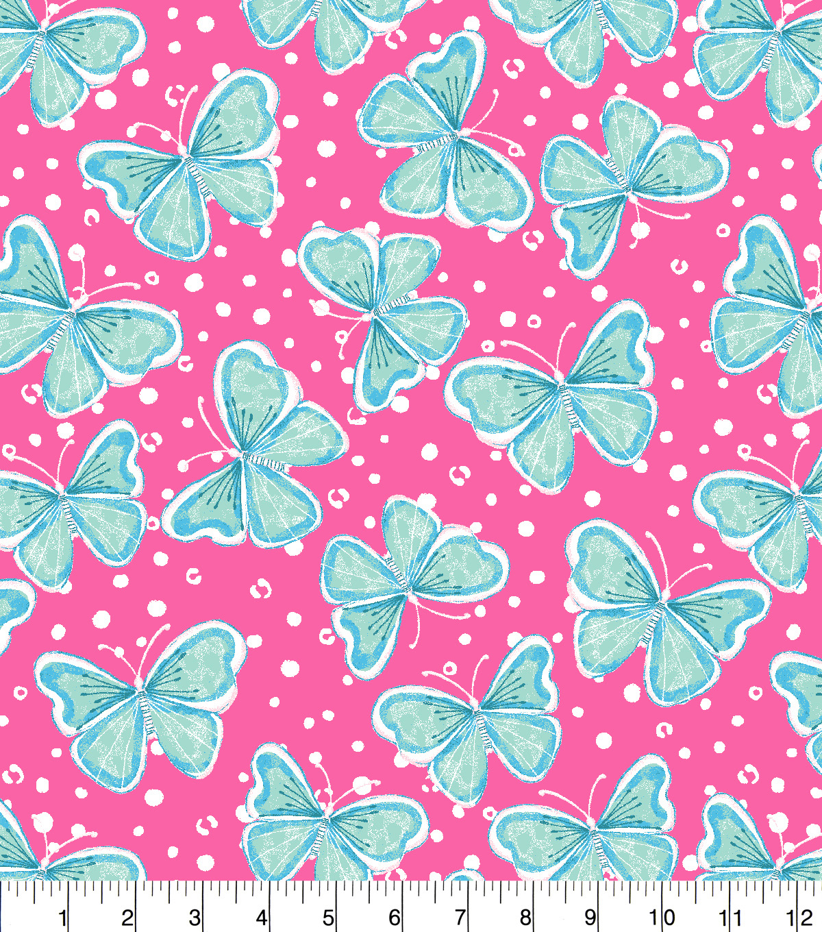 Snuggle Flannel Fabric -Butterflies on Pink