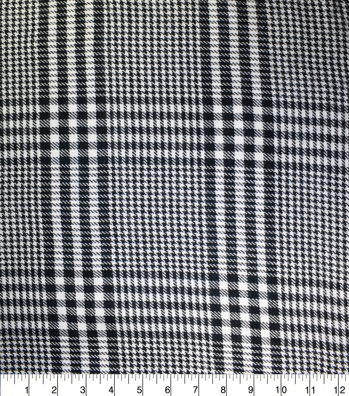 Sportswear Acrylic Fabric-Black & White Houndstooth Plaid