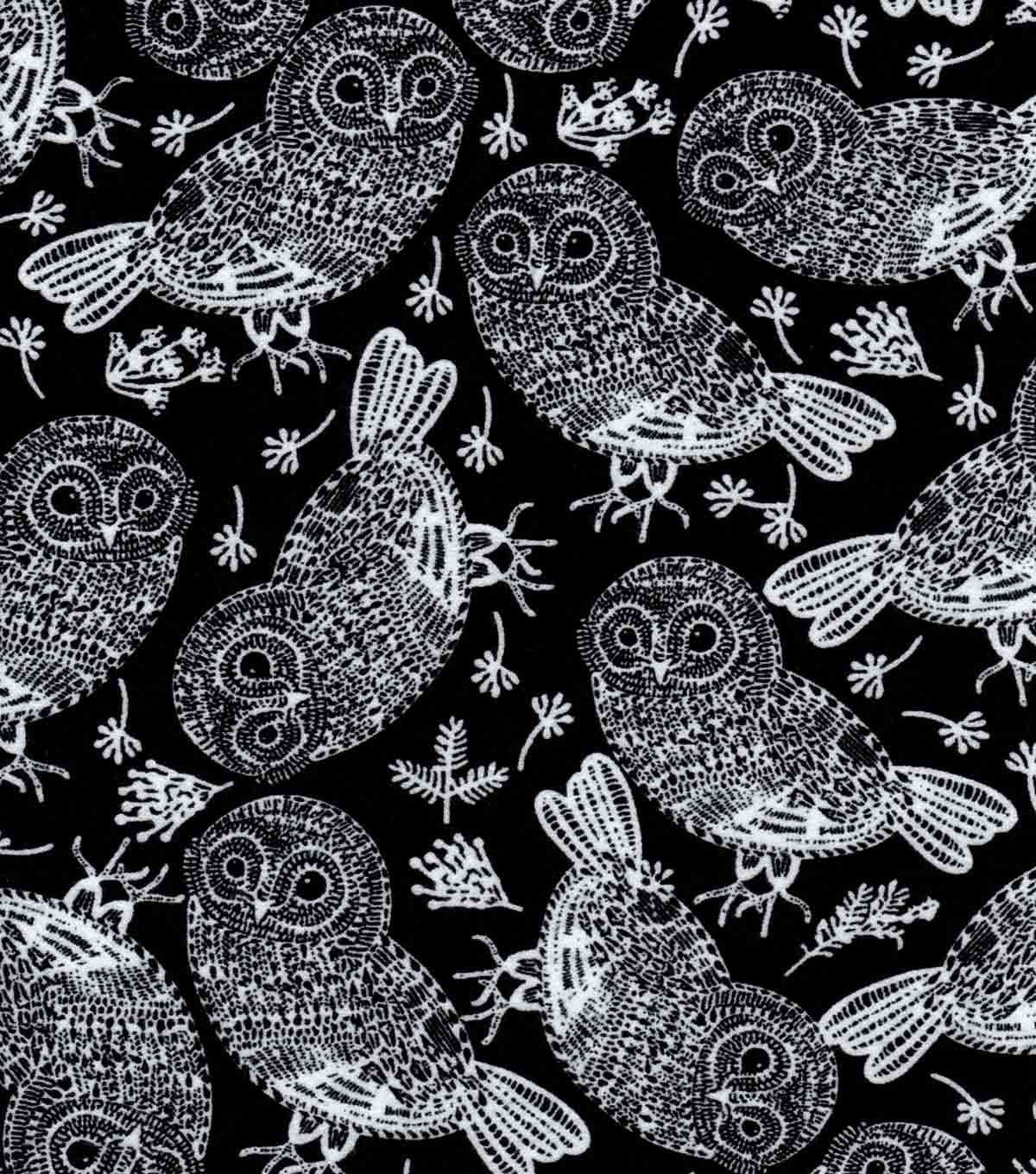 Luxe Flannel Fabric -Tribal Owl On Black