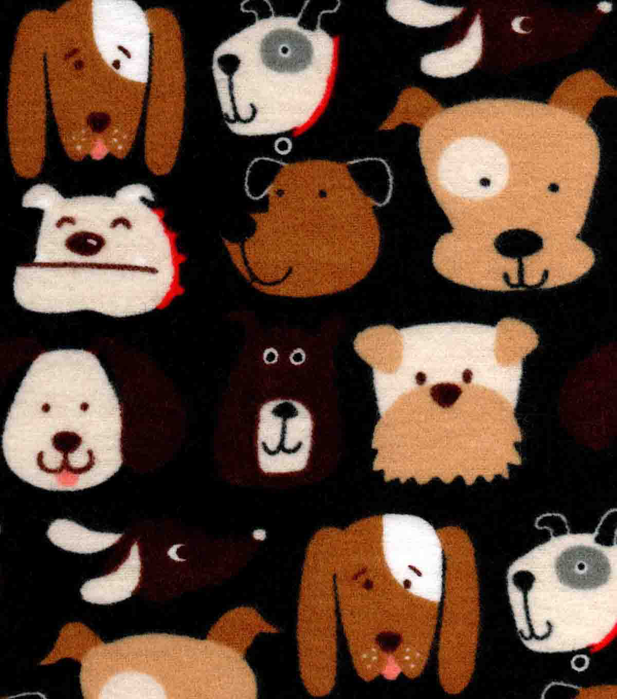 Snuggle Flannel Fabric -Dog Faces